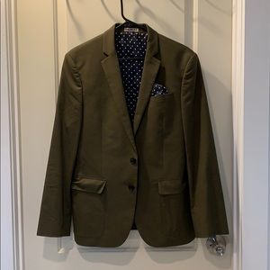 Express photographer fitted army green blazer
